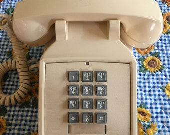 Vintage Beige Push Button ITT Desk Phone