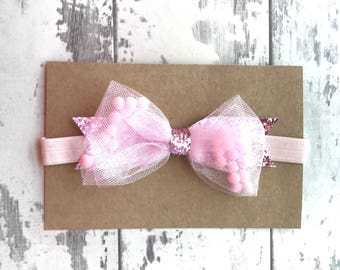 Blush Pom Pom bow, hair bow, bow, hair accessory, Gingham, bows, headbands, baby headbands,