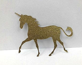 Gold Glitter Unicorn Die Cuts - Diy Garland - Banners - Craft Supplies - Party Supplies