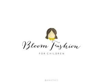 Custom Logo Design, Premade Calligraphy Logo, Girl Watercolor Logo, Children Clothing Logo, Editable Logo Design, Children, Child Logo