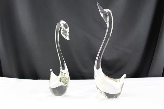Pair of Clear Art Glass Birds Swans Handmade Figurines