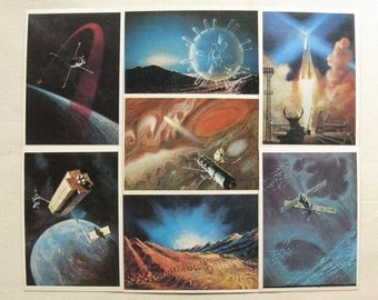 20% Off Sale Vintage Space Theme Postcards, Space Illustrations, Space Postcards, Science Fiction Card, Planets and Space, Spacecraft and Un