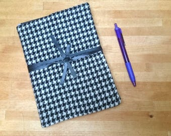 Harris Tweed Boswell Notebook - A5 size - Black and White Houndstooth Check Leather Wrap Tie - Handmade writing journal wedding guest book