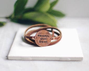 Copper Leather Wrap Bracelet, Customized Small Round