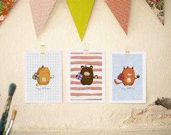 Birthday Card / Sweet Birthday Card / Cute Birthday Card / Happy birthday / Birthday Celebration Card / Cat / Bear / Fox / Card / Birthday