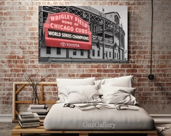 Chicago Canvas, Wrigley Field, Chicago Cubs Neon Sign, Chicago Icon, MLB, Cubbies, Canvas Decor, Man Cave, Baseball Art, Cubs Framed canvas
