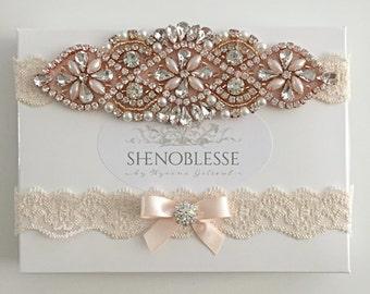 JUDY - rose gold garter Wedding garter rose gold, champagne garter, lace garter, bridal garter, , blush garter, ivory garter, white garter