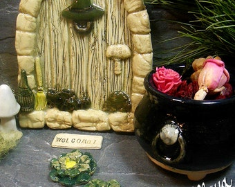Miniature Cauldron #1  |  Small Black Pot with Lion Head Details for Halloween and Fairy Garden Decor
