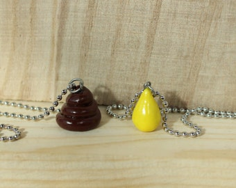 MINI Poop and Pee friendship necklace (pair) with chain