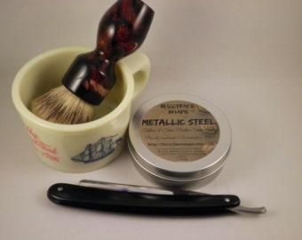 METALLIC STEEL Luxury Tallow and Shea Butter Shaving Soap