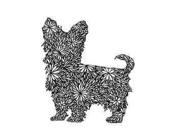 YORKSHIRE TERRIER 8.5 x 11 Art Print, Yorkie, Doodle Dog Collection, Art Print, Decor, Pet, Dog Lover