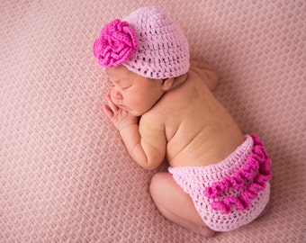 baby girl diaper cover - baby girl hat - baby girl clothes  - newborn girl photo prop - pink girl outfit -crochet girl outfit - ZeBu Baby