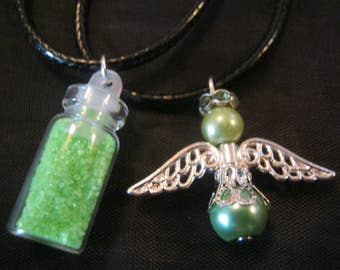 Beautiful angel Wishing Set - Fairy Dust Necklace and Glass Pearl Angel Necklace - Green Set - Wishing Angels