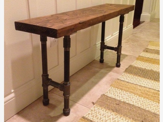 Industrial Urban Loft Wood Entry Or Sofa Table With Pipe Legs