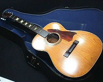 Vintage U.S.A. Made Solid Wood Silvertone Large Body Acoustic Guitar in a Chipboard Case & Ready to Play as-is