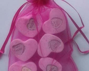 Bag of heart Bath Bombs, Valentine Gift, Ladies Bath Bomb, Gift For Her, Romantic Gift, Bag Of 6 Mini Bath Bombs, Pink Fizz, Girls Gift, UK
