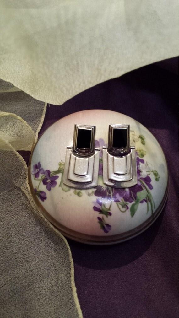 Sterling silver black onyx designer earrings