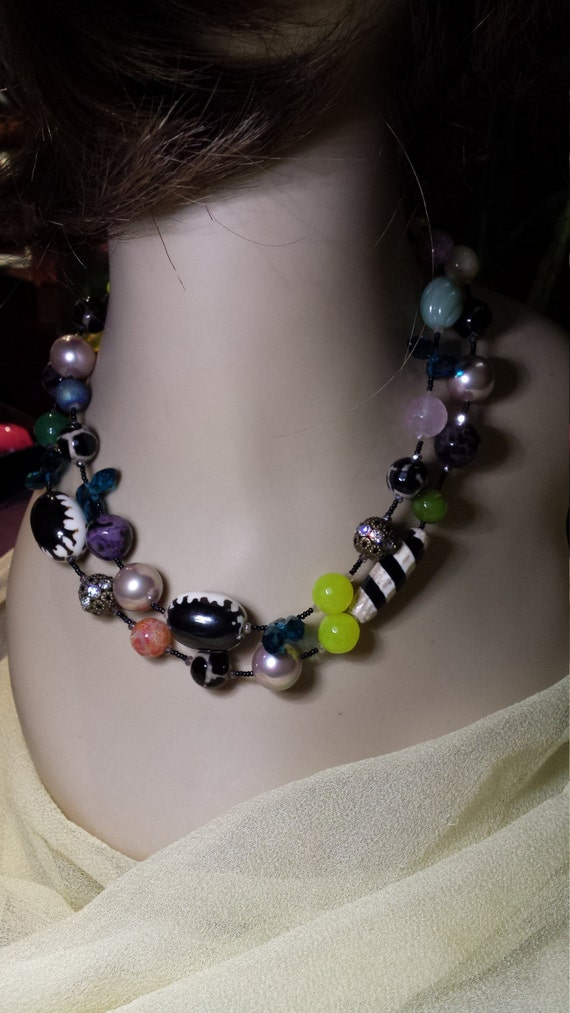 Jade, jasper, pearl and black onyx two strand necklace
