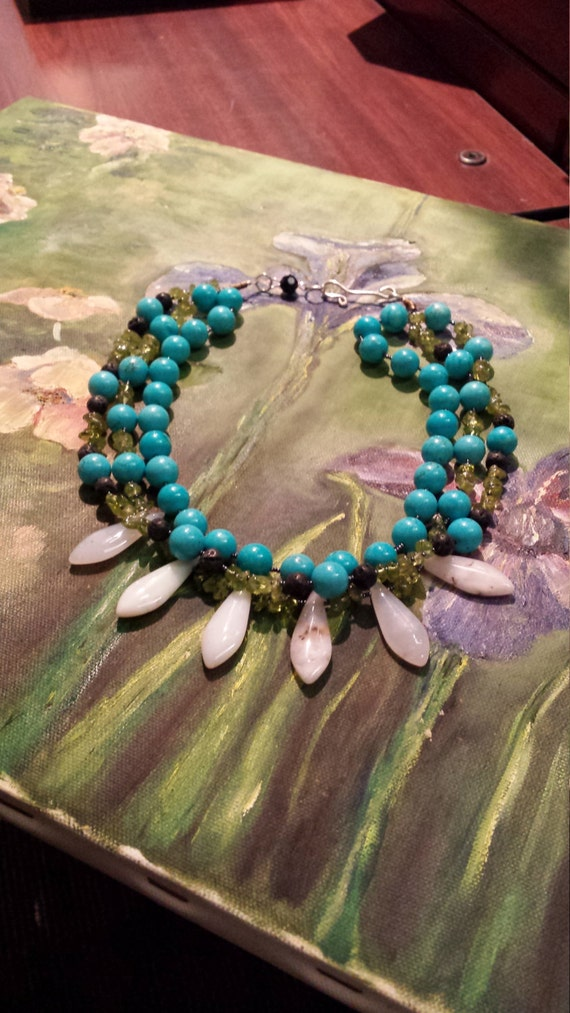 Turquoise,  peridot, and white agate teardrops three strand Semi-precious stone necklace