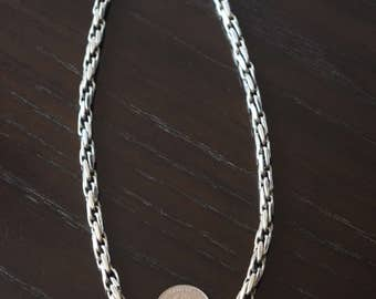 Unisex 925 Sterling Silver Thick and heavy rope chain link T clasp handmade.