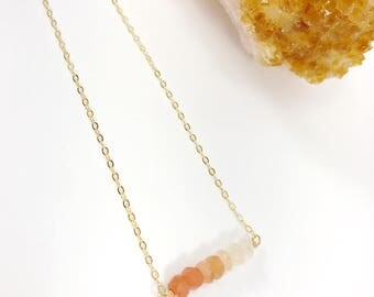 Moonstone Necklace, Gemstone Necklace, Bar Necklace, Ombre Necklace, Orange, Peach, Healing Crystal, Dainty Necklace, Layering Necklace