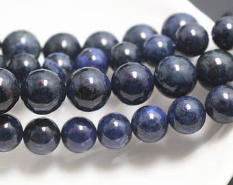 4-12mm Dumortierite Round Beads, Dumortierite Gemstone Beads, 15 Inch Full Strand ( 4mm 6 mm 8mm 10mm 12mm )