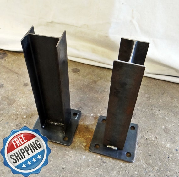 Set Of 4 Steel I Beam Table Legs For Industrial Style Dining