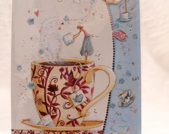 Happy 60th Birthday  A Lady putting a lump of sugar into a cup of tea  Card