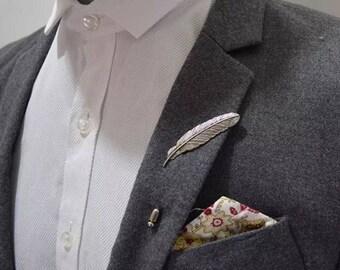 Silver Feather Lapel Pin Boho Wedding Mens Pin