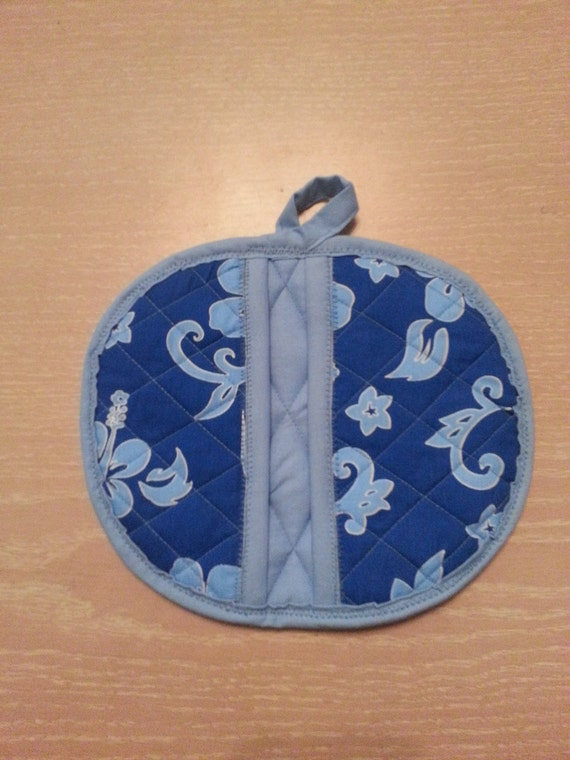 "Handmade "" Blue Hawaii Print ""  Potholder / Trivet"