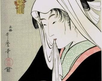 "Japanese Ukiyoe, Woodblock print, antique, Utamaro,  ""Love for a Street-walker """