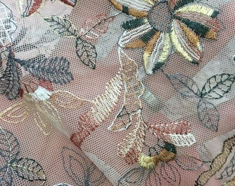 58 in w French embroidered mesh Fabric by the yard