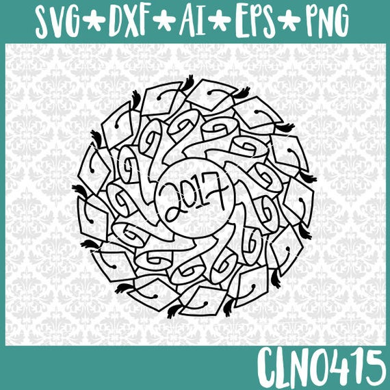 CLN0415 Graduation 2014 Mandala Diploma Highschool College SVG DXF Ai Eps PNG Vector Instant Download Commercial Cut File Cricut SIlhouette