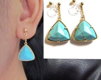 Blue Howlite Turquoise Invisible Clip on earrings |BA4| Drop Dangle Triangle Earrings, Wedding clip on earrings Non Pierced Earrings