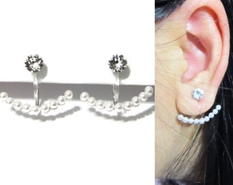 Clip-Ons Ear Jackets Earrings 12i Swarovski crystal Clip on earrings Wedding rhinestone clip on earring bridal Pearl clip on earrings