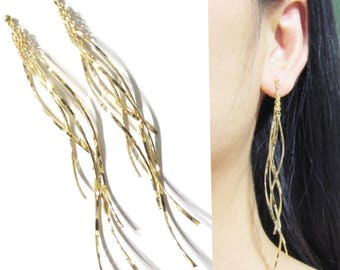 Chandelier Clip On Earrings |24C| Fringe Tassel Long Dangle Clip on Earrings Gold Wavy Bar Invisible Clip-ons Bridal Modern clip Earrings