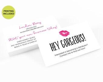 Lipsense Distributor Printed Business Cards - business cards,business card design,custom business card,lipstick,lips,marketing,pink,referral