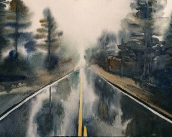 Watercolor trees, forest painting, forest road, Misty trees, tree watercolor, rainy day, rainy day watercolor, landscape watercolor, trees