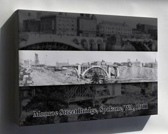 Canvas 24x36; Monroe Street Bridge Construction, Spokane, Wash. 1911