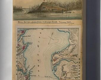 Canvas 24x36; Map Of Blockade Of Potomac River 1862