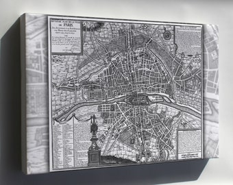 Canvas 24x36; Map Of Paris France From 1589 To 1643