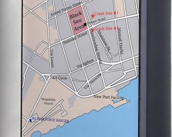 Canvas 16x24; Battle Of Mogadishu Map Of City Black Hawk Down