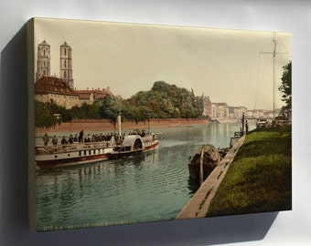 Canvas 16x24; Oder River, Cathedral Island, Wroclaw, Poland 1890 Steamboat