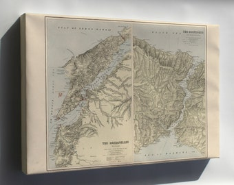 Canvas 16x24; Map Of Dardanelles And The Troad Turkey 1914