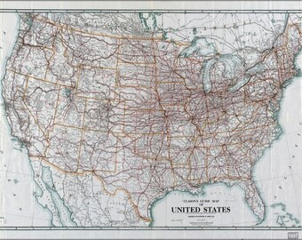 16x24 Poster; Clason'S Map Of United States Of America 1919
