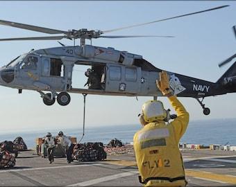 16x24 Poster; Sh-60 Sea Hawk Helicopter Aboard Uss Makin Island (Lhd 8)