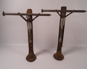 Railroad Spike and Nail Crucifix Folk Art