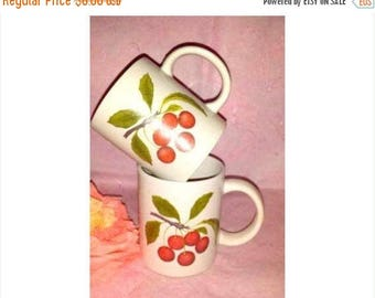 Vintage Cherry Coffee Cup, Set OF 2,  Cherry Mugs, White Cup & Cherries, Retro, Cherry Mug, Cherry. Red, White