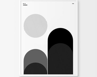 Hills Art, Minimal Art, Sun, Moon, Circle Art, Circle Print, Circle Poster, Minimal Landscape, Horizon Art, Valley Print, Valley Poster