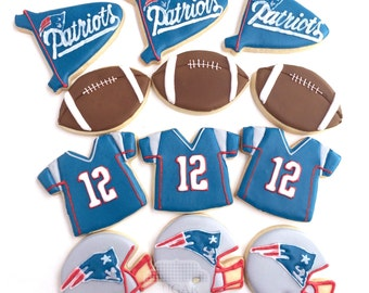 Football Cookies -  One Dozen New England Patriots or Your Team Choice!